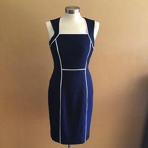 White house black market blue sleeveless dress Sz6